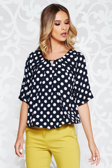 Darkblue women`s blouse office flared airy fabric with elastic waist with dots print