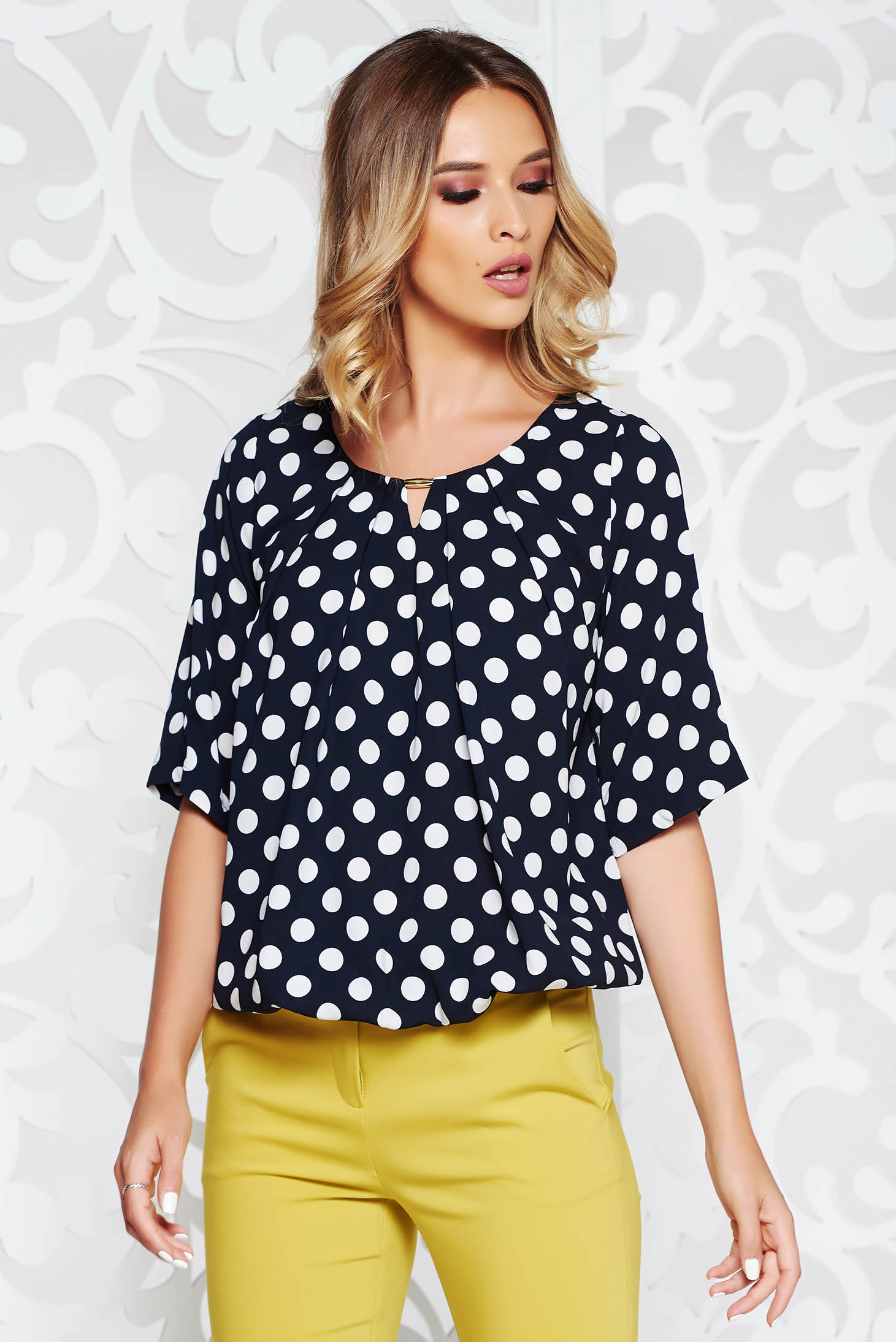 4daf63bedd0c5f Darkblue office flared women`s blouse airy fabric with elastic waist ...