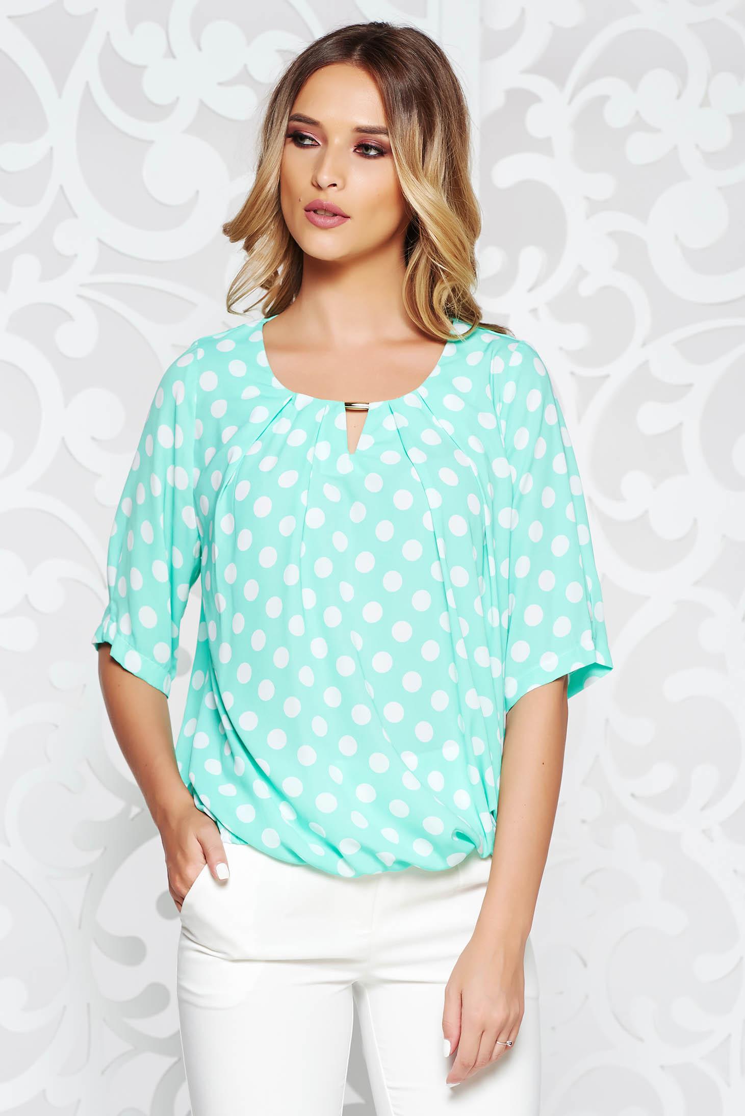 Bluza dama mint office cu croi larg din material vaporos cu buline si elastic in talie