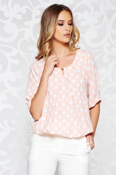 Rosa women`s blouse office flared airy fabric with elastic waist with dots print