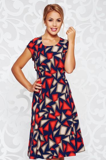 Darkblue dress daily cloche slightly elastic fabric with geometrical print midi