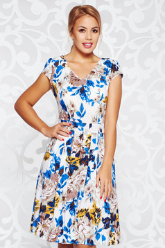 Blue daily cloche dress airy fabric slightly elastic fabric with v-neckline
