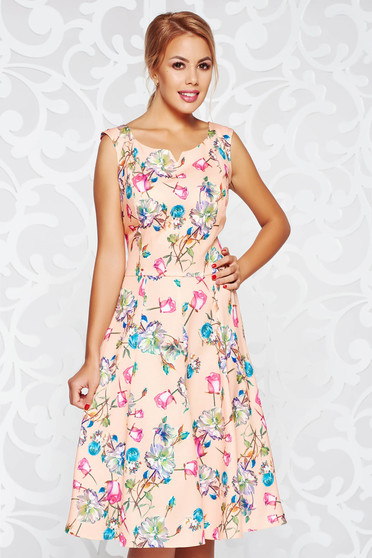 Peach dress daily cloche slightly elastic fabric midi sleeveless with floral prints