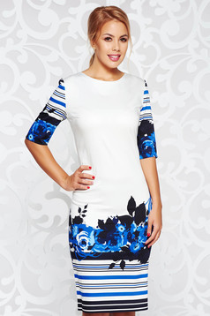White office pencil dress with print details slightly elastic fabric
