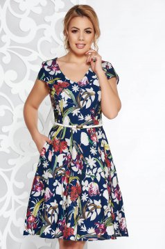 StarShinerS blue daily cloche dress slightly elastic fabric with pockets
