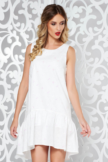 StarShinerS white casual dress with straight cut airy fabric with sequin embellished details