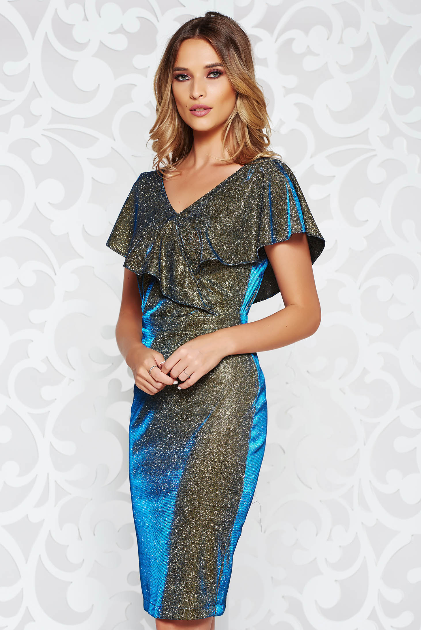 StarShinerS blue occasional midi pencil dress from elastic fabric with ruffle details