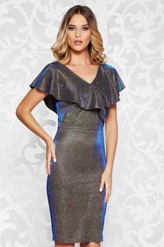 StarShinerS darkblue dress occasional midi pencil from elastic fabric with ruffle details