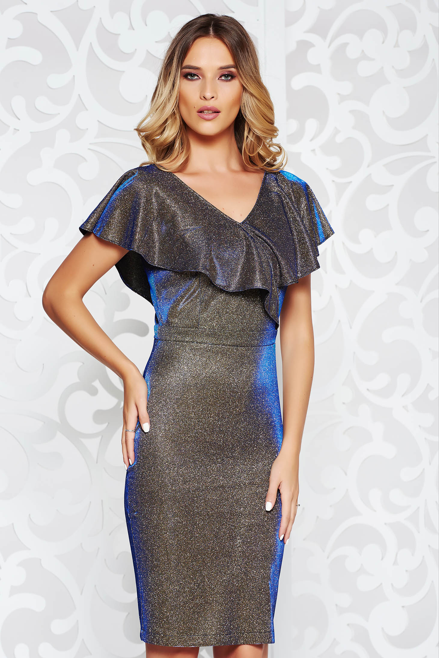 StarShinerS darkblue occasional midi pencil dress from elastic fabric with ruffle details