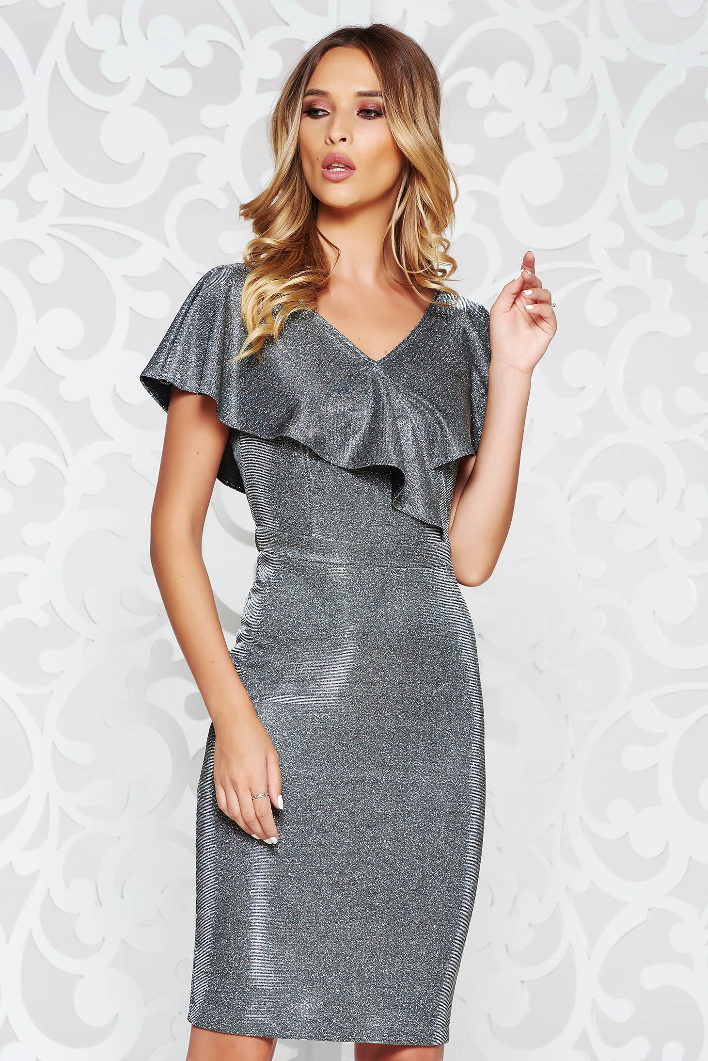 StarShinerS silver occasional midi pencil dress from elastic fabric with ruffle details
