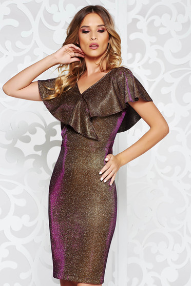 StarShinerS gold dress occasional midi pencil from elastic fabric with ruffle details