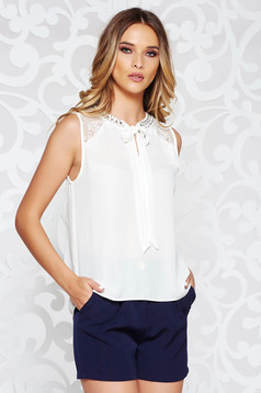 StarShinerS white women`s blouse elegant flared from veil fabric with lace details with crystal embellished details handmade applications