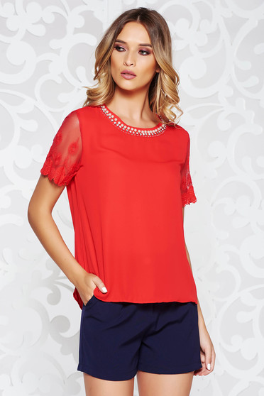 StarShinerS red women`s blouse elegant from veil fabric flared with laced sleeves handmade applications