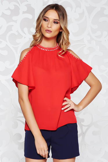 StarShinerS red women`s blouse elegant flared from veil fabric both shoulders cut out handmade applications
