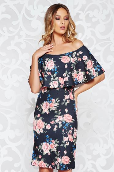 Black elegant pencil dress slightly elastic fabric on the shoulders with floral prints