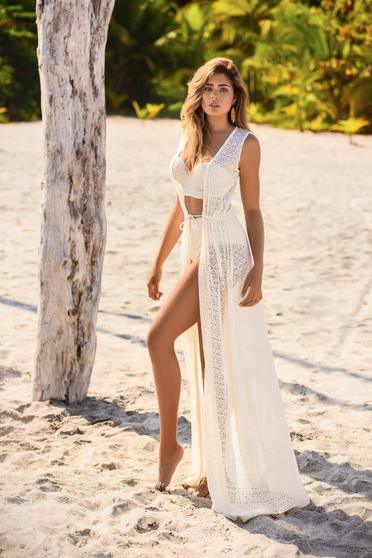 Cosita Linda nude dress beach wear knitted lace is fastened around the waist with a ribbon flared