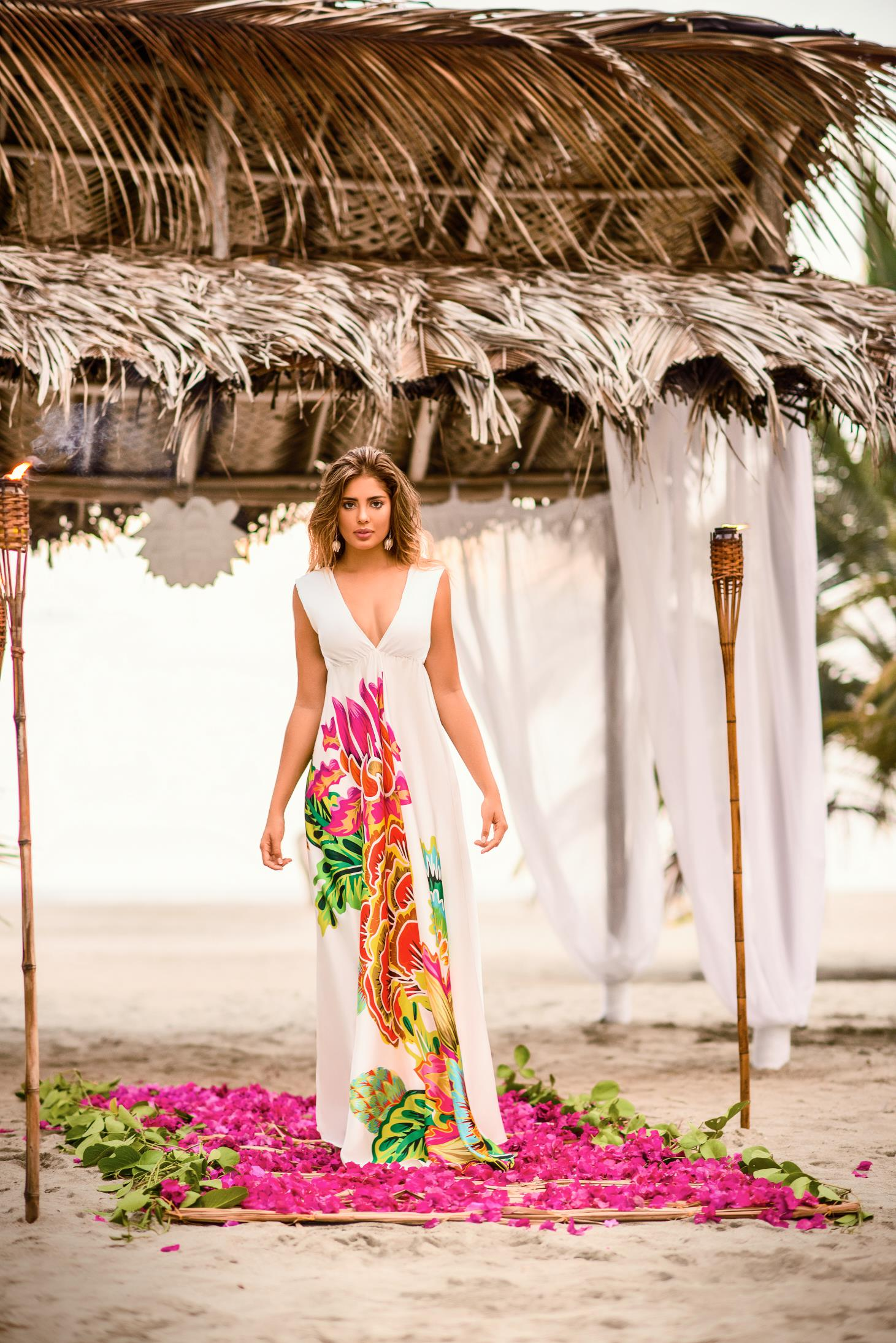 Cosita Linda white beach wear flared dress with v-neckline sleeveless