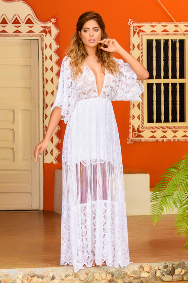 Cosita Linda white beach wear flared dress from laced fabric large sleeves with v-neckline