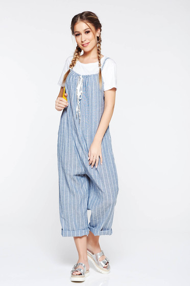 SunShine grey jumpsuit casual flared with pockets with laced details