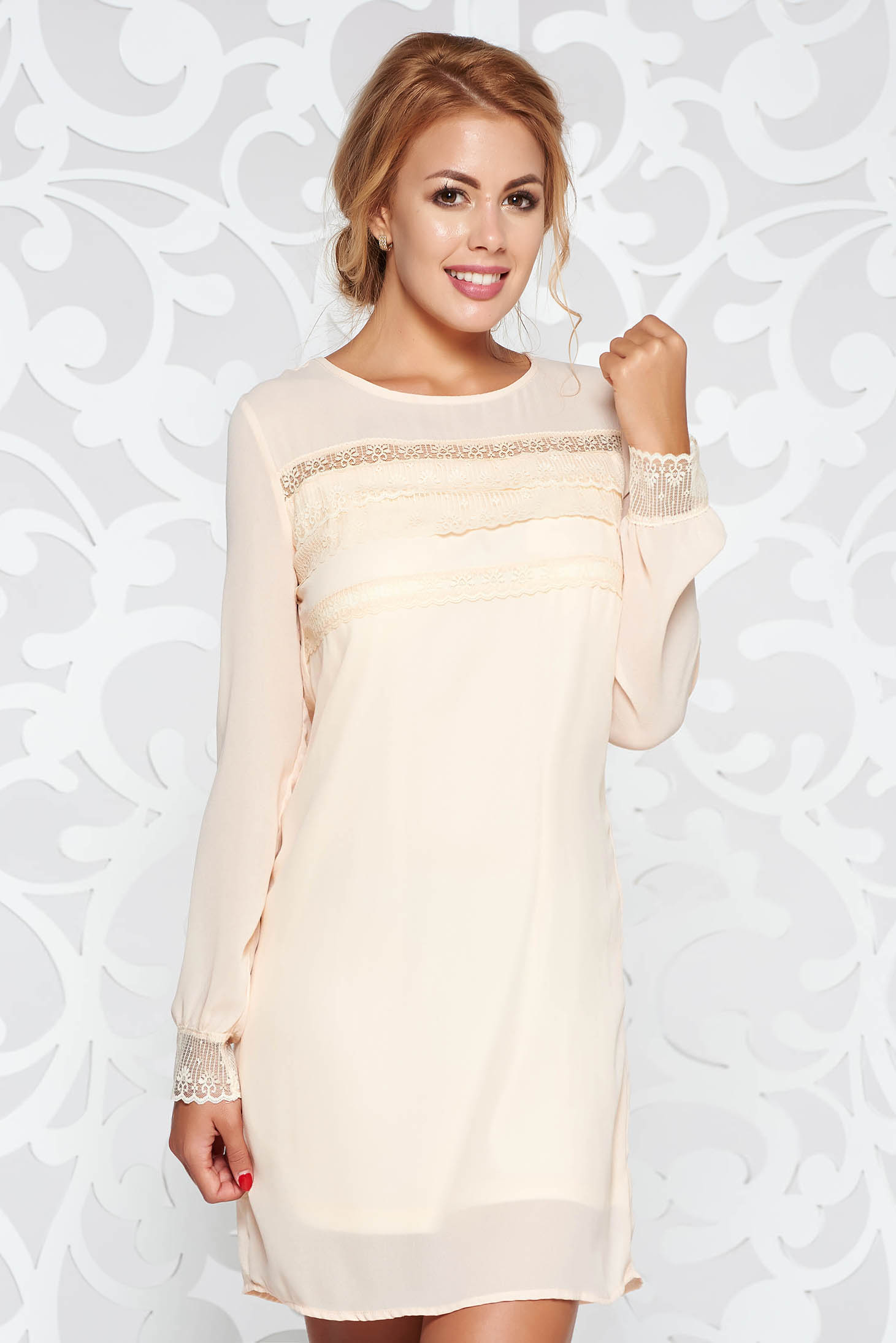 StarShinerS cream elegant flared dress from veil with inside lining with lace details