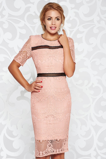 Rosa dress elegant midi pencil laced with inside lining with cut back