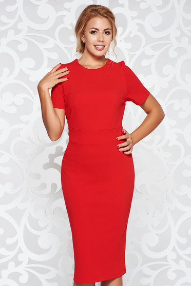 StarShinerS red dress office from elastic fabric with tented cut midi