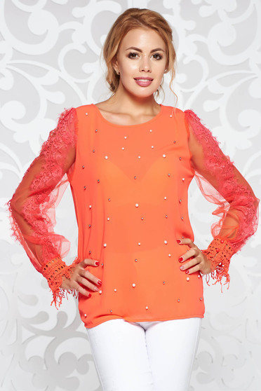 StarShinerS coral women`s blouse elegant from veil fabric with laced sleeves with pearls