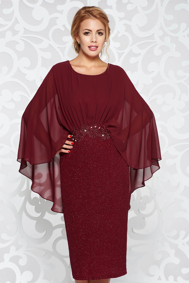 Burgundy dress elegant pencil from elastic fabric with inside lining with lace details with small beads embellished details