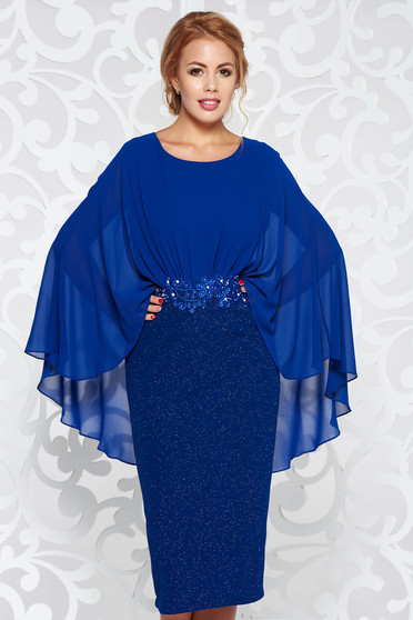 Blue dress elegant pencil from elastic fabric with inside lining with lace details with small beads embellished details