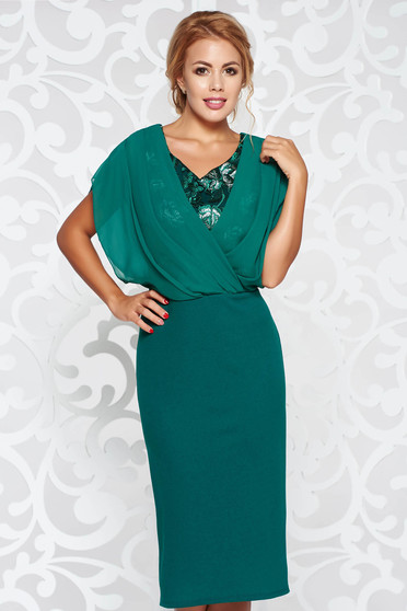 Green dress occasional pencil from elastic fabric with lace details voile overlay