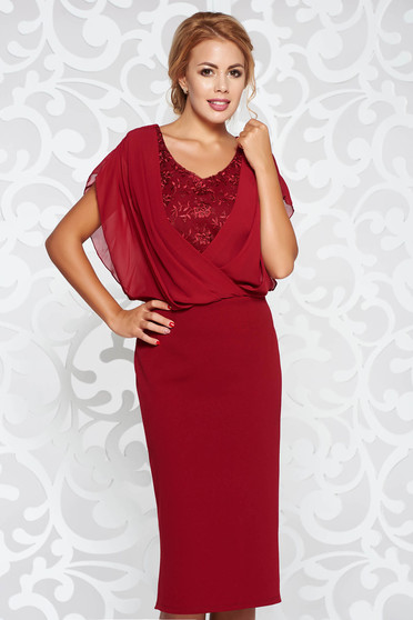 Burgundy dress occasional pencil from elastic fabric with lace details voile overlay