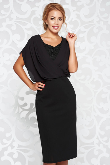 Black dress occasional pencil from elastic fabric with lace details voile overlay