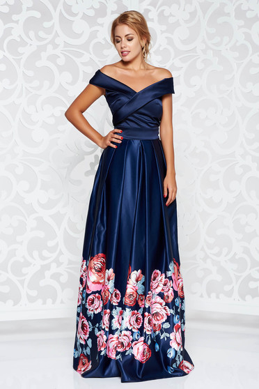 Artista blue occasional dress from satin fabric texture with floral prints cloche off shoulder
