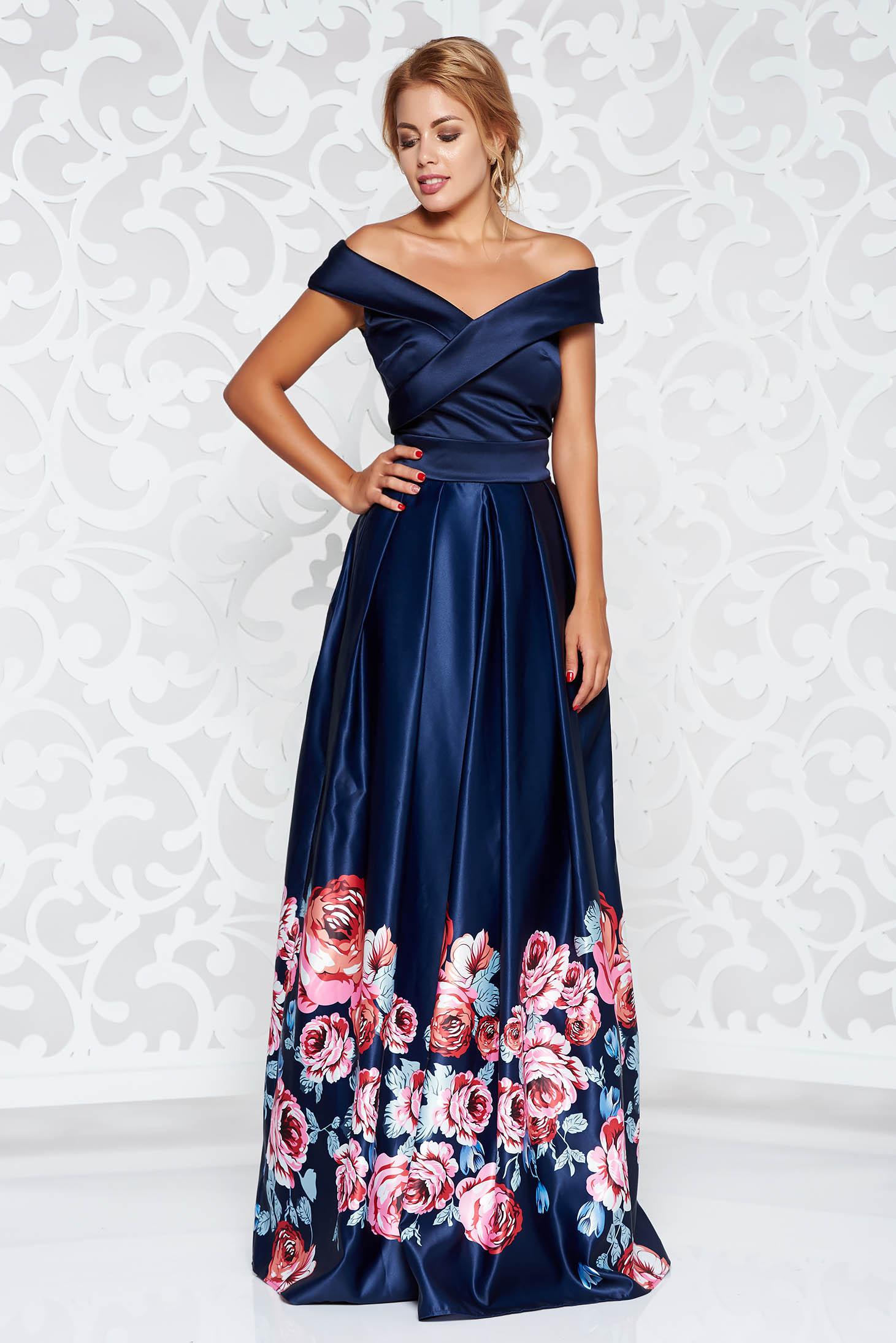 Kék Artista alkalmi ruha szatén anyagból virágmintás díszítéssel harang  váll nélküli c9e6031155