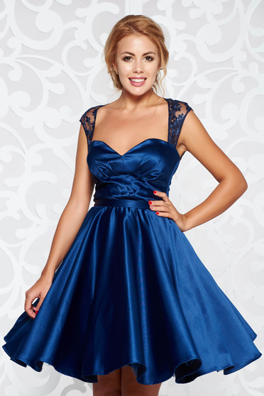 Artista darkblue occasional cloche dress from satin fabric texture with inside lining with push-up cups with sequin embellished details