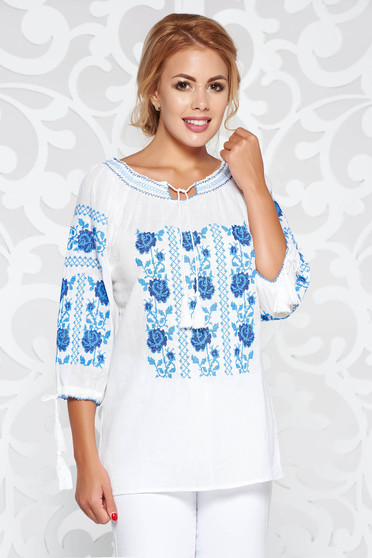 White women`s blouse casual flared nonelastic cotton embroidered with laced details
