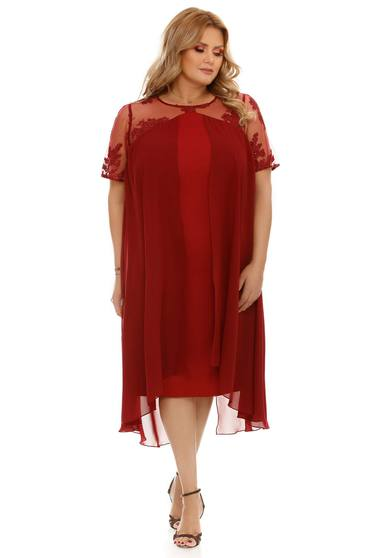 Burgundy dress occasional voile fabric with inside lining flared from laced fabric