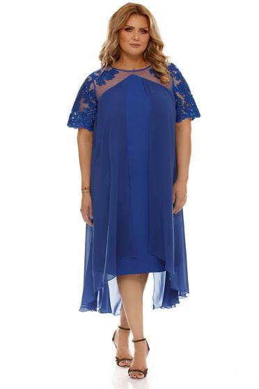 Blue dress occasional voile fabric with inside lining flared from laced fabric