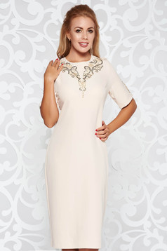 Cream elegant midi pencil dress slightly elastic fabric with sequin embellished details with pearls