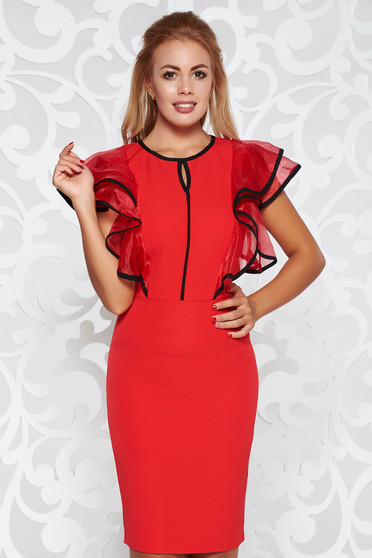 Red dress elegant pencil slightly elastic fabric with ruffle details