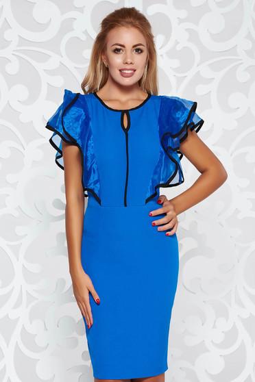 Blue dress elegant pencil slightly elastic fabric with ruffle details
