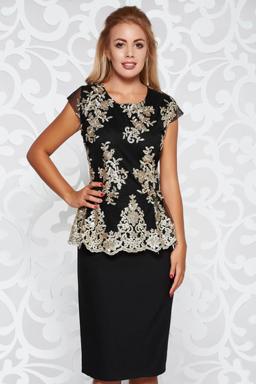 Black dress pencil occasional slightly elastic fabric with lace details with frilled waist