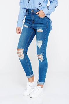 Blue jeans casual with medium waist cotton with ruptures skinny jeans with pockets