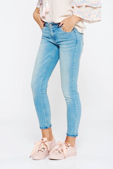 Blue jeans casual skinny jeans slightly elastic cotton with medium waist with pockets