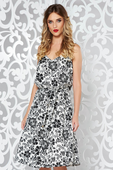 White daily cloche dress airy fabric with floral prints