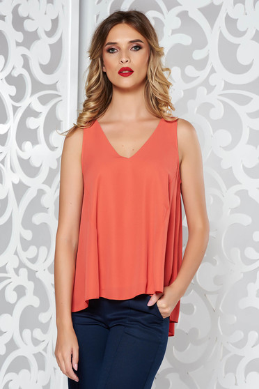 Coral casual flared top shirt airy fabric with v-neckline