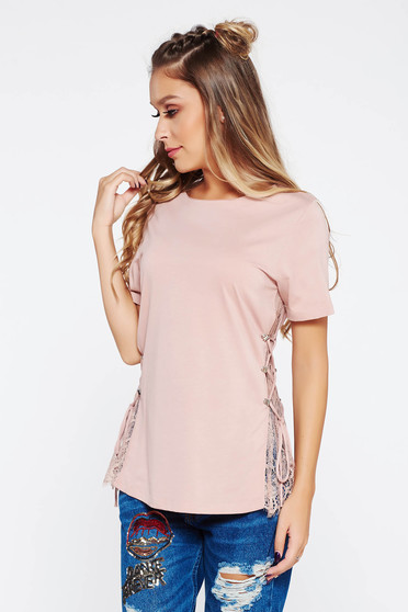 Rosa t-shirt casual with lace details cotton flared
