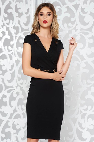 StarShinerS black elegant pencil dress with tented cut with metal accessories