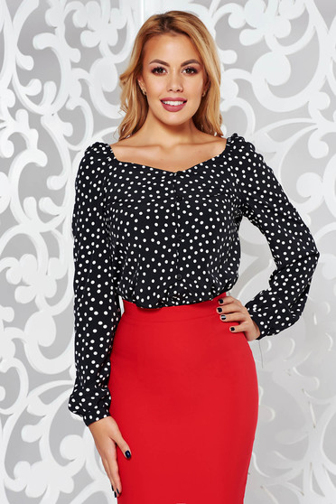 StarShinerS black office flared women`s shirt long sleeve thin fabric with dots print