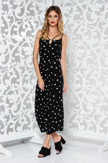 StarShinerS black casual jumpsuit with straps airy fabric with dots print